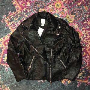 H&M Cropped Faux Leather Biker Jacket NWT